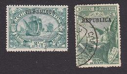 Azores, Scott #141, 143, Used, Vasco De Gama Overprinted, Issued 1911 - Azores