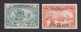 Azores, Scott #141-142, Mint Hinged, Vasco De Gama Overprinted, Issued 1911 - Azores