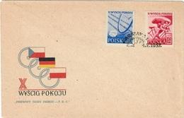 POLAND 1957 - 10 INTERNATIONAL CYCLING RACE FOR THE PEACE - WARSZAWA / BERLIN / PRAHA - FDC 4.5.1957 - SCOTT #777/8 - Ciclismo
