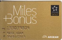 GREECE - Aegean Airlines, Miles & Bonus Gold Member Card, Exp.date 01/19, Used - Airplanes