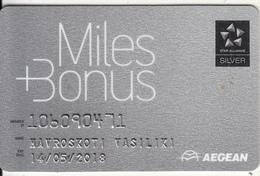 GREECE - Aegean Airlines, Miles & Bonus Silver Member Card, Exp.date 05/18, Used - Airplanes