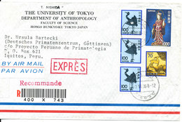 Japan Air Mail Registered Cover Sent Express To Peru 7-6-1986 (the Cover Is Cut In The Left Side) - Poste Aérienne