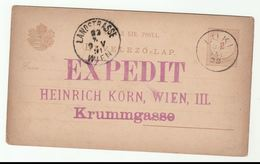 1891 LUKI Hungary POSTAL STATIONERY Card To Wien Austria - Covers & Documents