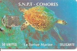 CARTE-µ-PUCE-50U-SC7-SNPT COMORES-TORTUE MARINE-UTILISE-V°8 N°ROUGE 00005725-En Bas-TBE - Tartarughe