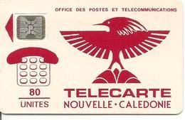 CARTEµ-PUCE-NOUVELLE-CALEDONIE-80U-NC2a-SC4-7mm-CAGOU ROUGE-V°N° 5 Pe 17985-3000Ex-UTILISE-TBE-TRES RARE - New Caledonia