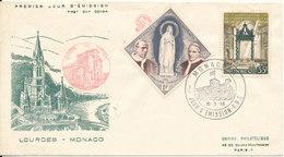 Monaco FDC 15-5-1958 Centenary Lourdes With Cachet - FDC