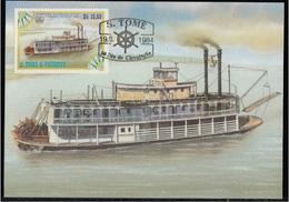 756b S. Tomé E Principe 1984 Navi A Vapore Maximum Card  Chaperone (1884) Steamers Maxi - Barche