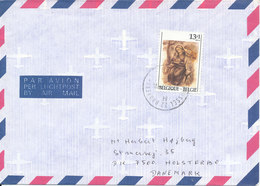 Belgium Air Mail Cover Sent To Denmark 9-12-1987 Single Stamped - Airmail