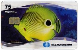 KAZAKHSTAN KAZAKTELECOM 75 UNITS CHIP PHONECARD TRANSPARENT TELEPHONE CARD UNDERWATER FAUNA YELLOW FISH - Kazakhstan