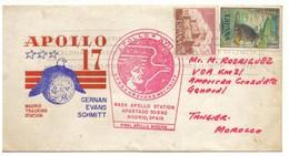FDC Espagne Apollo 17 Vers Tanger. Flamme Du Code Postal. 1972. Timbres 2095 Et 2102 - FDC