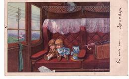 Dessin De Bertiglia - Enfants Dormant Dans Compartiment De Train - Bertiglia, A.