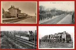 40 CP Gares Abbeville+LE VALDAHON+ Train + Loco +2 Fantaisies +1Folklore+Diverses CP Animées Ou Non+ Lot N°54 - Postcards