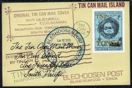 5720 Tonga 1982 Tin Can Mail Centenary Self-adhesive M/sheet Opt'd SPECIMEN, As SG MS 822 (Maps, Postal) - Tonga (1970-...)