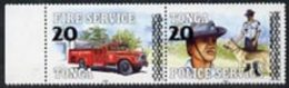 50733 Tonga 1997 Surcharged 20s On 2p Se-tenant Pair Showing Fire Engine & Policeman With Dogs Unmounted Mint, SG 13 - Tonga (1970-...)