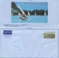 Maurice Aerogramme Windsurfing Voile Aerogram Air Letter Entier Entero Ganzsache Lettre Carta Belege Airmail Cover - Maurice (1968-...)