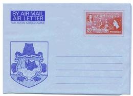 Bermudes Aerogramme 20 Cts Armoiries Aerogram Air Letter Entier Entero Ganzsache Lettre Carta Belege Airmail Cover - Bermuda