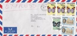 BUSTA VIAGGIATA EXPRESS AIR MAIL - UGANDA - VIAGGIATA DA KAMPALA HA MILANO ( ITALIA ) 1989 - Uganda (1962-...)