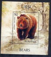 ROMANIA 2008 Bears Block MNH / **.  Michel Block 423 - 1948-.... Republics