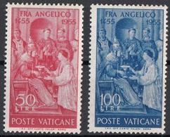 """Vaticano 1955 Blf. 195-196 """"Consacrazione...Lorenzo...Sisto II"""" Affresco Quadro Dipinto Beato Angelico MNH Paintings - Religione"""