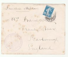 FRANCE 2eme SANITAIRE ANGLAISE COVER With FRENCH CENSOR POST LABEL On Back To GB Military Forces Health Censored WWI - France