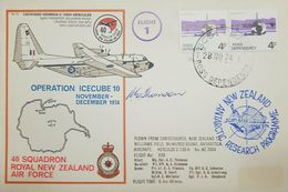 L) 1974 ROSS DEPENDENCY, WILLIAMS FIELD, 4C, AIRPLANE, FLIGHT 1, OPERTATION ICECUBE 10, AIRPLANE, MAP, ANTARCTIC RESEARC - FDC
