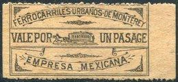 Mexico Monterrey HORSE TRAM Tramway Tranvia Pferdebahn Strassenbahn Local Transport City Railway Fee Fare Stamp Revenue - Tramways
