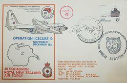 L) 1974 ROSS DEPENDENCY, SUMMER SUPPORT, BOAT, 8C, FLIGHT 4, VANDA STATION, AIRPLANE, OPERATION ICECUBE 10, MAP, SCOTT - FDC