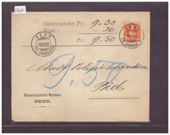 No ZUMSTEIN 86C SUR LETTRE REMBOURSEMENT - HAUSIERPATENT BUREAU BERN - COTE: 40 CHF - 1882-1906 Stemmi, Helvetia Verticalmente & UPU