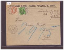 No ZUMSTEIN 96A + 103 ( RARE AFFRANCHISSEMENT MIXTE HV. DEBOUT-FILS DE TELL ) - VOLKSBANK IN BIEL - 1882-1906 Wappen, Stehende Helvetia & UPU