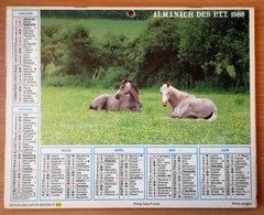 Calendrier La Poste - Almanach : 75-92-93-94 Paris Et Banlieue 1988. Plan Banlieue Paris,métro,autobus - Grand Format : 1981-90