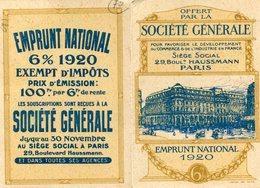 CALENDRIER 1921(SOCIETE GENERALE) EMPRUNT NATIONALE(PARIS) - Petit Format : 1921-40