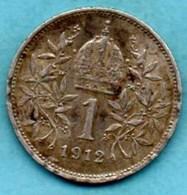 (r65)  AUTRICHE  1 Corona 1912  Km#2820  Argent / Silver - Autriche