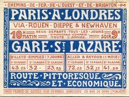 CALENDRIER 1899(PARIS A LONDRES) CHEMIN DE FER DE L OUEST - Calendars