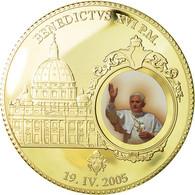 France, Médaille, Le Pape Benoit XVI, 2005, SPL+, Copper Gilt - Other