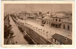 31rm 621 CPA - CIVITAVECCHIA - VIALE GARIBALDI - STAZIONE - Civitavecchia