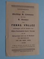 H. Communie Frans VALLEZ ( Kard. Mercier > Mechelen > St. Rombouts ) 29 Mei 1924 ( Details - Zie Foto ) ! - Communion