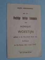 H. Communie ( Monique WOESTIJN ) I/d Kapel St. Pieters Te DE PANNE Op 5 Juni 1947 ( Details - Zie Foto ) ! - Communion