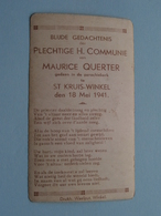 H. Communie ( Maurice QUERTER ) I/d Kerk ST. KRUIS-WINKEL Op 18 Mei 1941 ( Details - Zie Foto ) ! - Communion