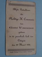 H. Communie ( Gentiel VANCRAEYNEST ) I/d Kerk Te OOTEGEM Op 29 Maart 1936 ( Details - Zie Foto ) ! - Communion