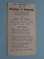 H. Communie ( Juliette DE KOEYER ) I/d St. Laurentius Kerk Te ZELZATE Op 15 April 1951 ( Details - Zie Foto ) ! - Communion