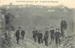 D-18-621 : SAINT-FLOUR. VUE PRISE DE MASSALES. LIGNE DE TRAMWAY. CHEMIN DE FER. RAILS. - France