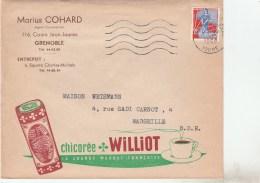 YT 1234 SEUL SUR ENV ILLUSTREE CHICOREE WILLIOT GRENOBLE 1960 POUR MARSEILLE  -                            TDA103A - Marcophilie (Lettres)
