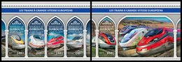 DJIBOUTI 2018 - European Trains, M/S + S/S. Official Issue - Djibouti (1977-...)