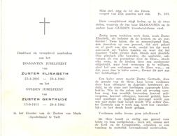 Devotie - Devotion - Jubileum Non Zuster Elisabeth  & Zuster Gertrude - Klooster Tielt 1962 - Unclassified
