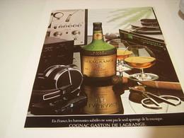 ANCIENNE PUBLICITE BOISSON FINE CHAMPAGNE COGNAC GASTON DE LAGRANGE 1978 - Alcohols
