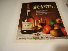 ANCIENNE AFFICHE PUBLICITE CALVADOS BUSNEL  SOCIETE RICARD 1980 - Alcohols