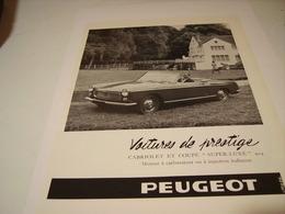 ANCIENNE PUBLICITE VOITURE DE PRESTIGE 404  PEUGEOT  1965 - Cars