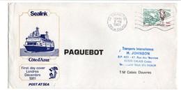 """PREMIERE TRAVERSEE PAQUEBOT SEALINK COTE D""""AZUR 1981 - Marcophilie (Lettres)"""