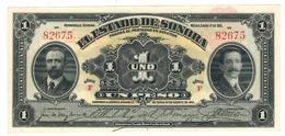 Mexico, ESTADO De SONORA, 1 Peso, 1915, (5 Digits) UNC. - Mexico