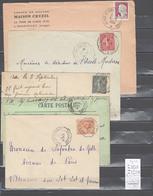 Lettre Avec Cachet Convoyeur Ax Les Thermes à Toulouse - à La Tour De Carol - 5 Piéces - Postmark Collection (Covers)